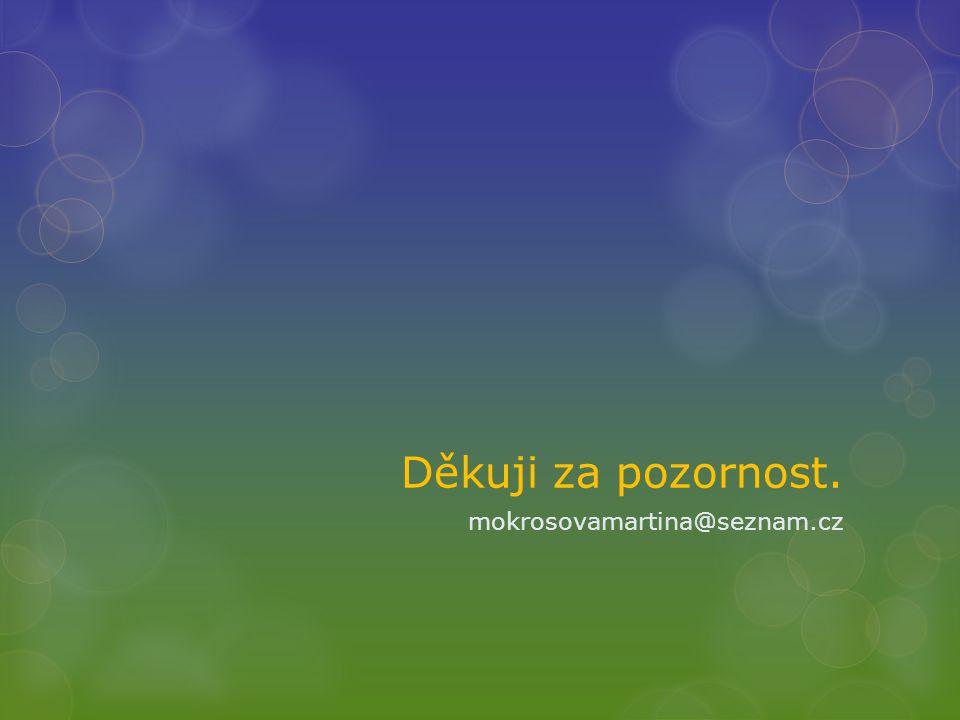 Děkuji za pozornost. mokrosovamartina@seznam.cz