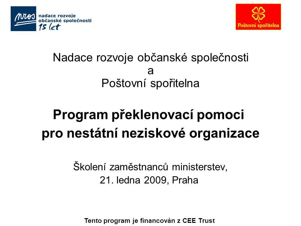 Nadace rozvoje občanské společnosti a Poštovní spořitelna Program překlenovací pomoci pro nestátní neziskové organizace Školení zaměstnanců ministerstev, 21.