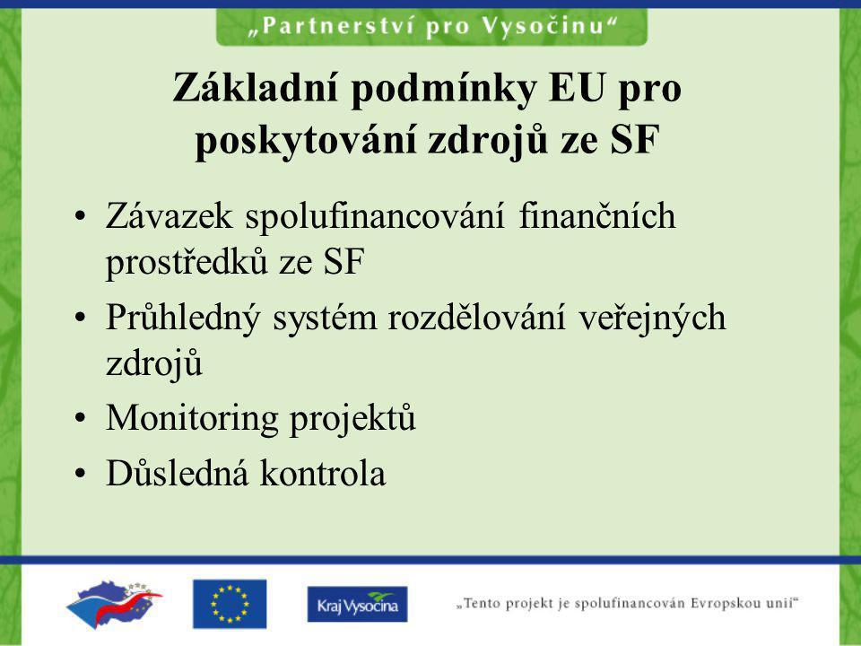Základní podmínky EU pro poskytování zdrojů ze SF Závazek spolufinancování finančních prostředků ze SF Průhledný systém rozdělování veřejných zdrojů M