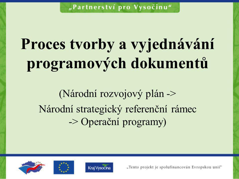 Proces tvorby a vyjednávání programových dokumentů (Národní rozvojový plán -> Národní strategický referenční rámec -> Operační programy)