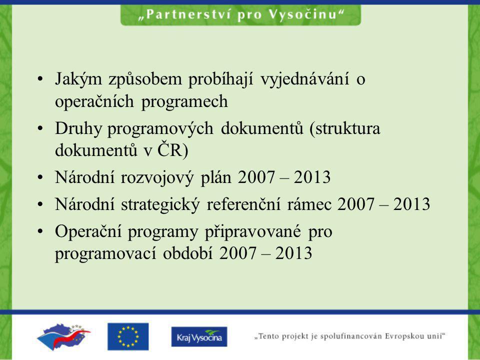 Jakým způsobem probíhají vyjednávání o operačních programech Druhy programových dokumentů (struktura dokumentů v ČR) Národní rozvojový plán 2007 – 201