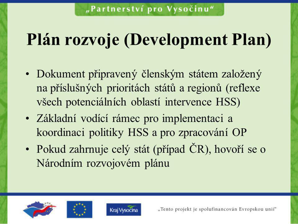 Plán rozvoje (Development Plan) Dokument připravený členským státem založený na příslušných prioritách států a regionů (reflexe všech potenciálních ob