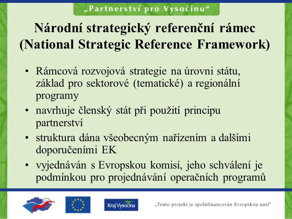 Národní strategický referenční rámec (National Strategic Reference Framework) Rámcová rozvojová strategie na úrovni státu, základ pro sektorové (temat