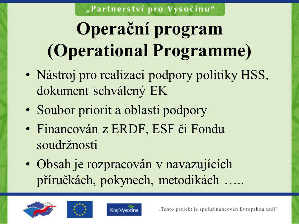 Operační program (Operational Programme) Nástroj pro realizaci podpory politiky HSS, dokument schválený EK Soubor priorit a oblastí podpory Financován