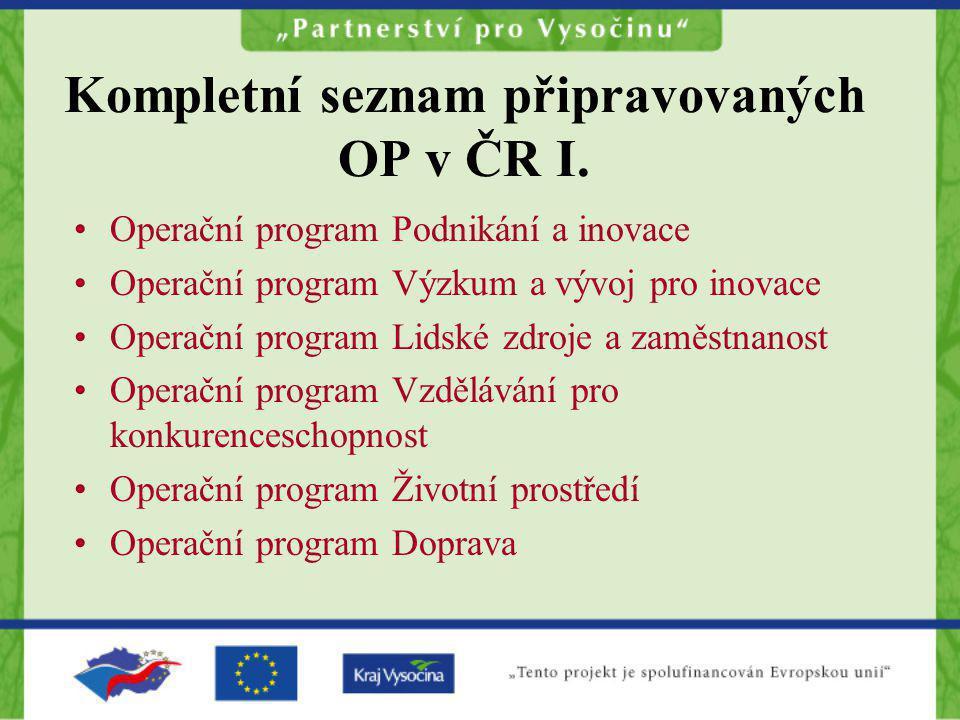 Kompletní seznam připravovaných OP v ČR I. Operační program Podnikání a inovace Operační program Výzkum a vývoj pro inovace Operační program Lidské zd