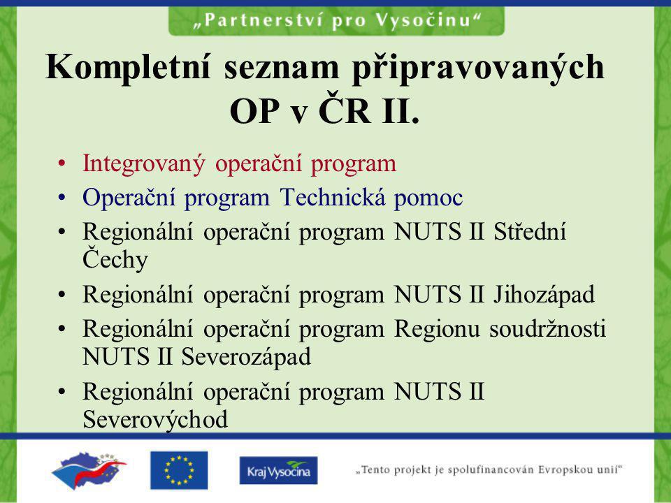 Integrovaný operační program Operační program Technická pomoc Regionální operační program NUTS II Střední Čechy Regionální operační program NUTS II Ji