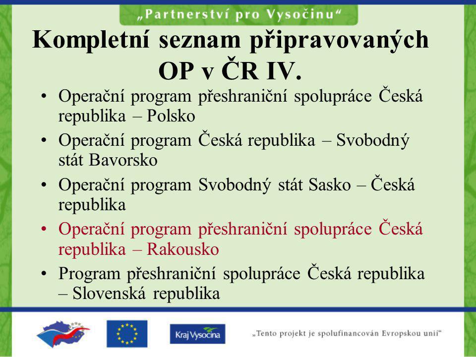 Operační program přeshraniční spolupráce Česká republika – Polsko Operační program Česká republika – Svobodný stát Bavorsko Operační program Svobodný
