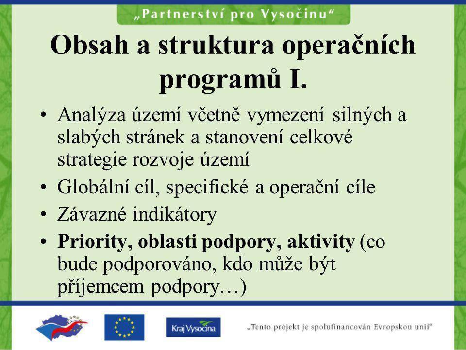 Obsah a struktura operačních programů I. Analýza území včetně vymezení silných a slabých stránek a stanovení celkové strategie rozvoje území Globální