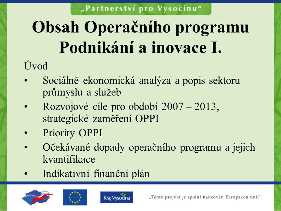 Obsah Operačního programu Podnikání a inovace I. Úvod Sociálně ekonomická analýza a popis sektoru průmyslu a služeb Rozvojové cíle pro období 2007 – 2