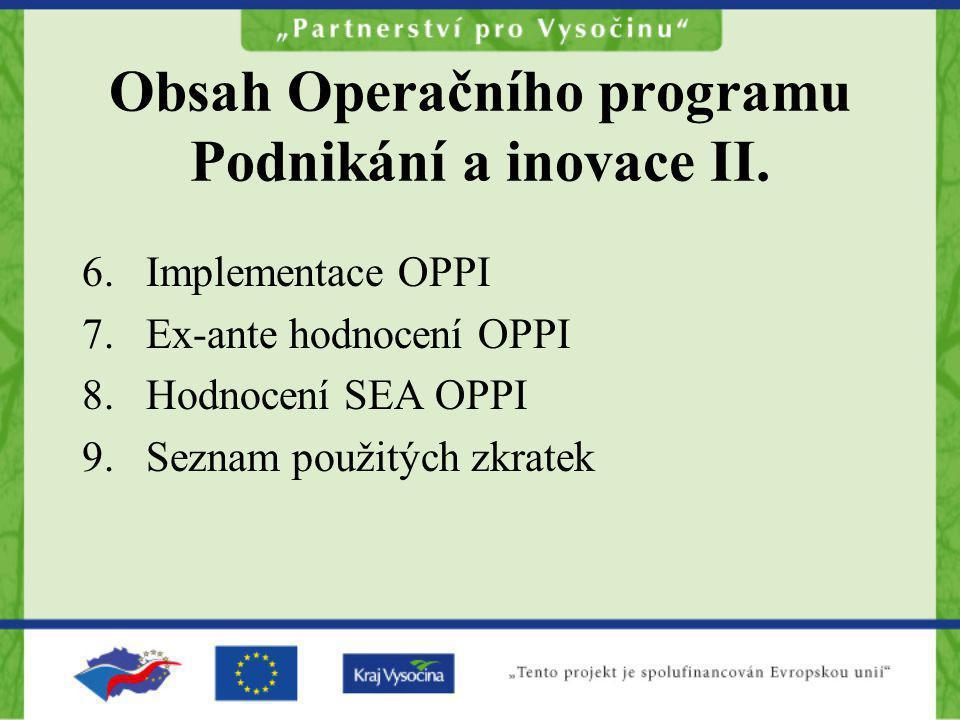 Obsah Operačního programu Podnikání a inovace II. 6.Implementace OPPI 7.Ex-ante hodnocení OPPI 8.Hodnocení SEA OPPI 9.Seznam použitých zkratek