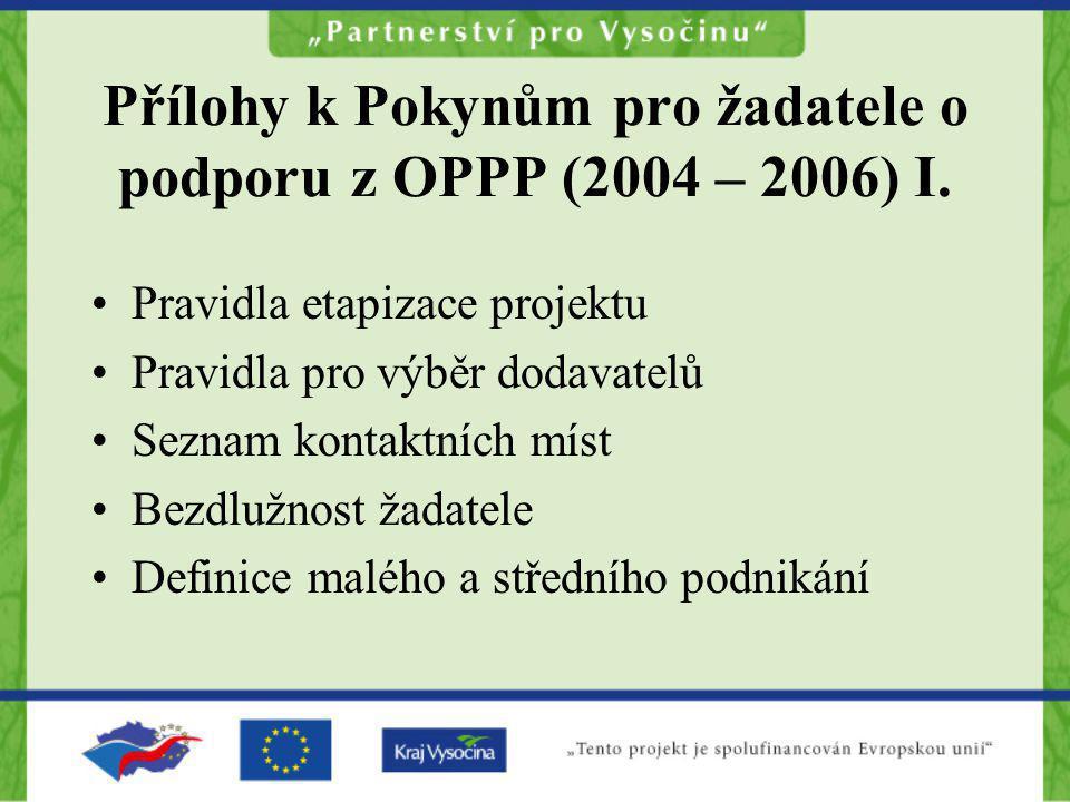 Přílohy k Pokynům pro žadatele o podporu z OPPP (2004 – 2006) I. Pravidla etapizace projektu Pravidla pro výběr dodavatelů Seznam kontaktních míst Bez