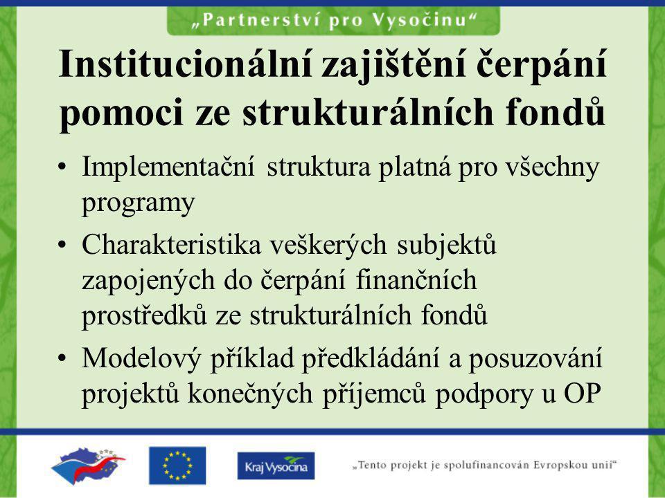 Institucionální zajištění čerpání pomoci ze strukturálních fondů Implementační struktura platná pro všechny programy Charakteristika veškerých subjekt