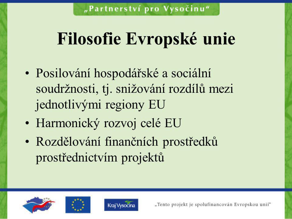 Filosofie Evropské unie Posilování hospodářské a sociální soudržnosti, tj. snižování rozdílů mezi jednotlivými regiony EU Harmonický rozvoj celé EU Ro