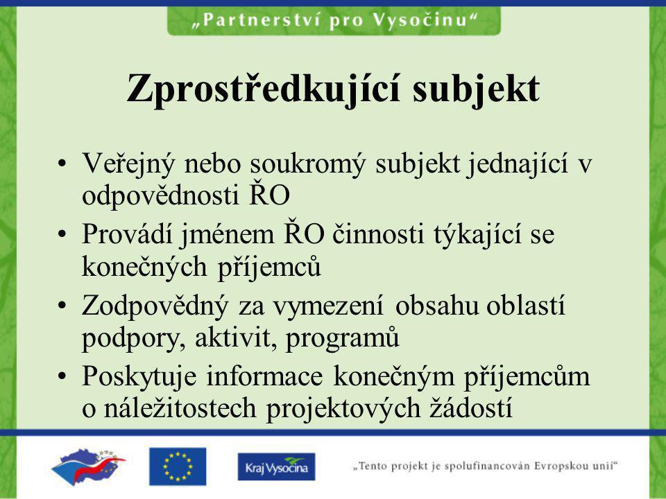 Zprostředkující subjekt Veřejný nebo soukromý subjekt jednající v odpovědnosti ŘO Provádí jménem ŘO činnosti týkající se konečných příjemců Zodpovědný
