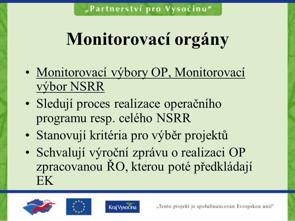 Monitorovací orgány Monitorovací výbory OP, Monitorovací výbor NSRR Sledují proces realizace operačního programu resp. celého NSRR Stanovují kritéria