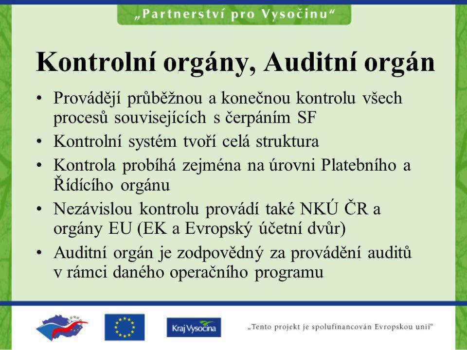 Kontrolní orgány, Auditní orgán Provádějí průběžnou a konečnou kontrolu všech procesů souvisejících s čerpáním SF Kontrolní systém tvoří celá struktur