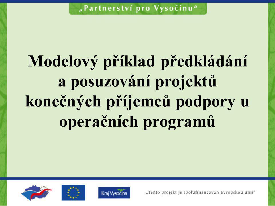 Modelový příklad předkládání a posuzování projektů konečných příjemců podpory u operačních programů