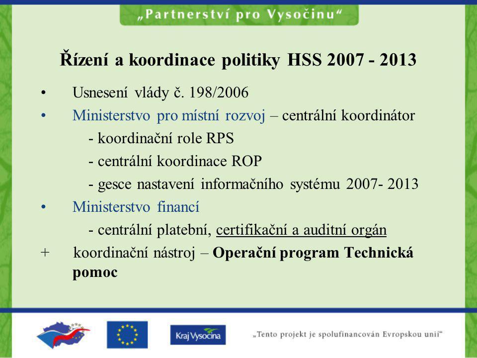 Řízení a koordinace politiky HSS 2007 - 2013 Usnesení vlády č. 198/2006 Ministerstvo pro místní rozvoj – centrální koordinátor - koordinační role RPS