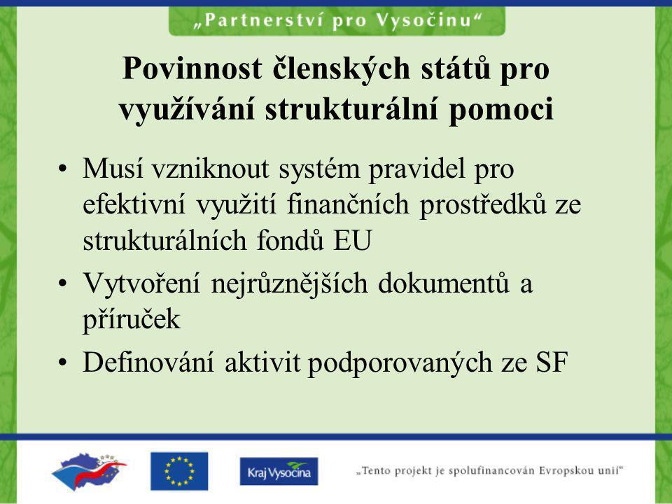 Povinnost členských států pro využívání strukturální pomoci Musí vzniknout systém pravidel pro efektivní využití finančních prostředků ze strukturální