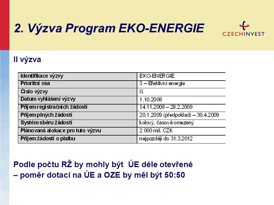 2. Výzva Program EKO-ENERGIE II výzva Podle počtu RŽ by mohly být ÚE déle otevřené – poměr dotací na ÚE a OZE by měl být 50:50