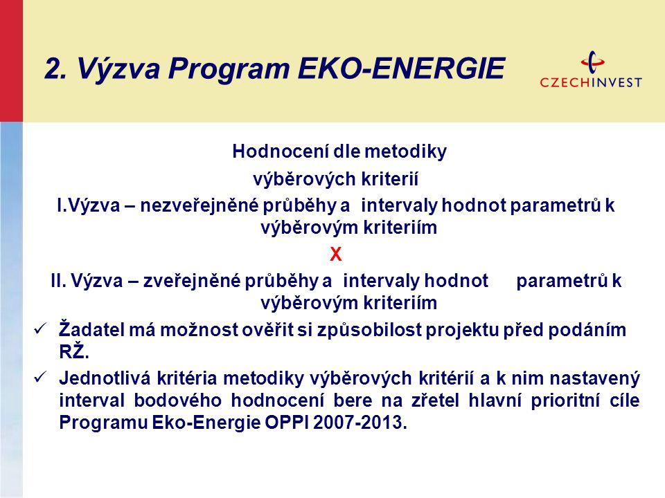 2. Výzva Program EKO-ENERGIE Hodnocení dle metodiky výběrových kriterií I.Výzva – nezveřejněné průběhy a intervaly hodnot parametrů k výběrovým kriter
