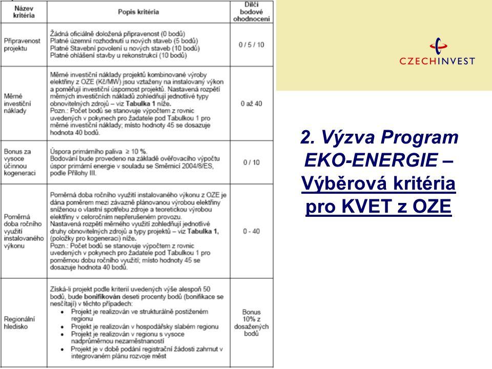 2. Výzva Program EKO-ENERGIE – Výběrová kritéria pro KVET z OZE