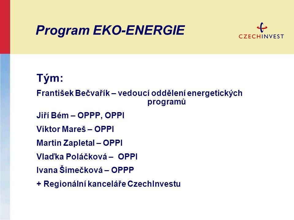 Program EKO-ENERGIE Tým: František Bečvařík – vedoucí oddělení energetických programů Jiří Bém – OPPP, OPPI Viktor Mareš – OPPI Martin Zapletal – OPPI