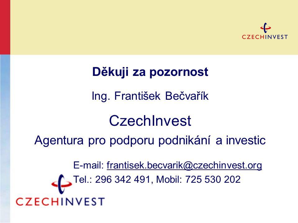 Děkuji za pozornost Ing. František Bečvařík CzechInvest Agentura pro podporu podnikání a investic E-mail: frantisek.becvarik@czechinvest.orgfrantisek.