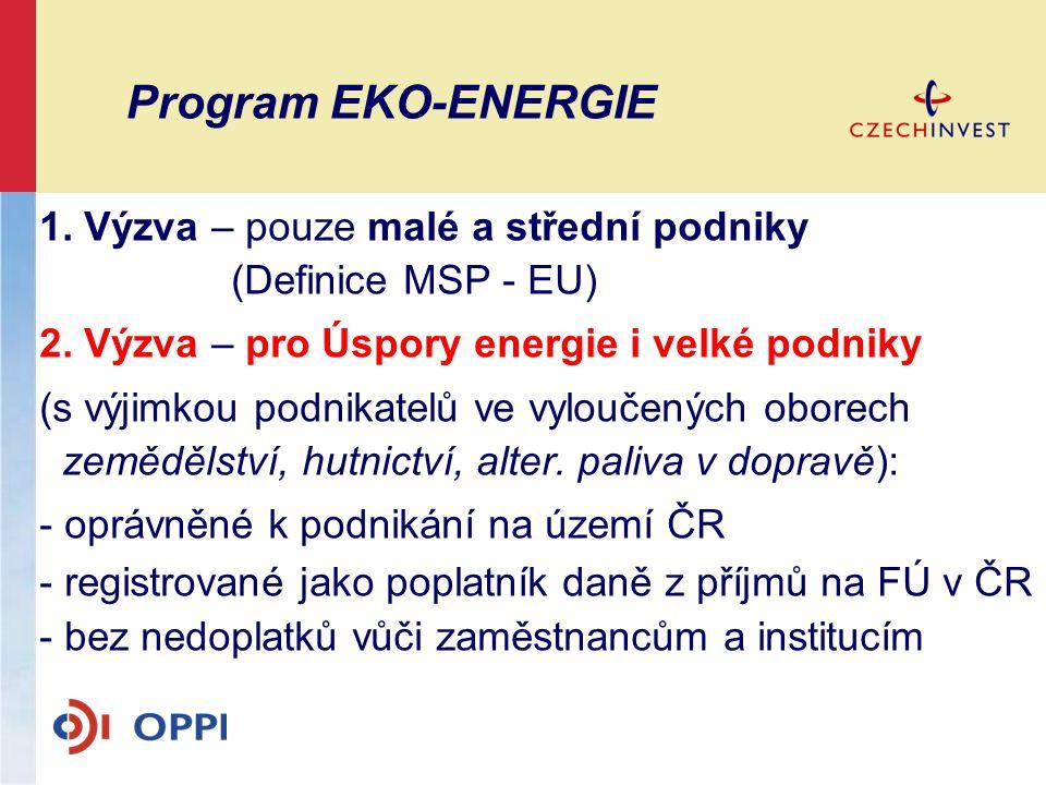 Program EKO-ENERGIE 1. Výzva – pouze malé a střední podniky (Definice MSP - EU) 2. Výzva – pro Úspory energie i velké podniky (s výjimkou podnikatelů