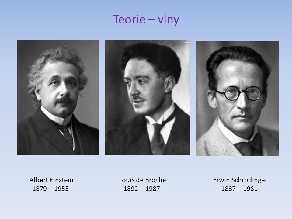 Teorie – vlny Albert Einstein 1879 – 1955 Louis de Broglie 1892 – 1987 Erwin Schrödinger 1887 – 1961