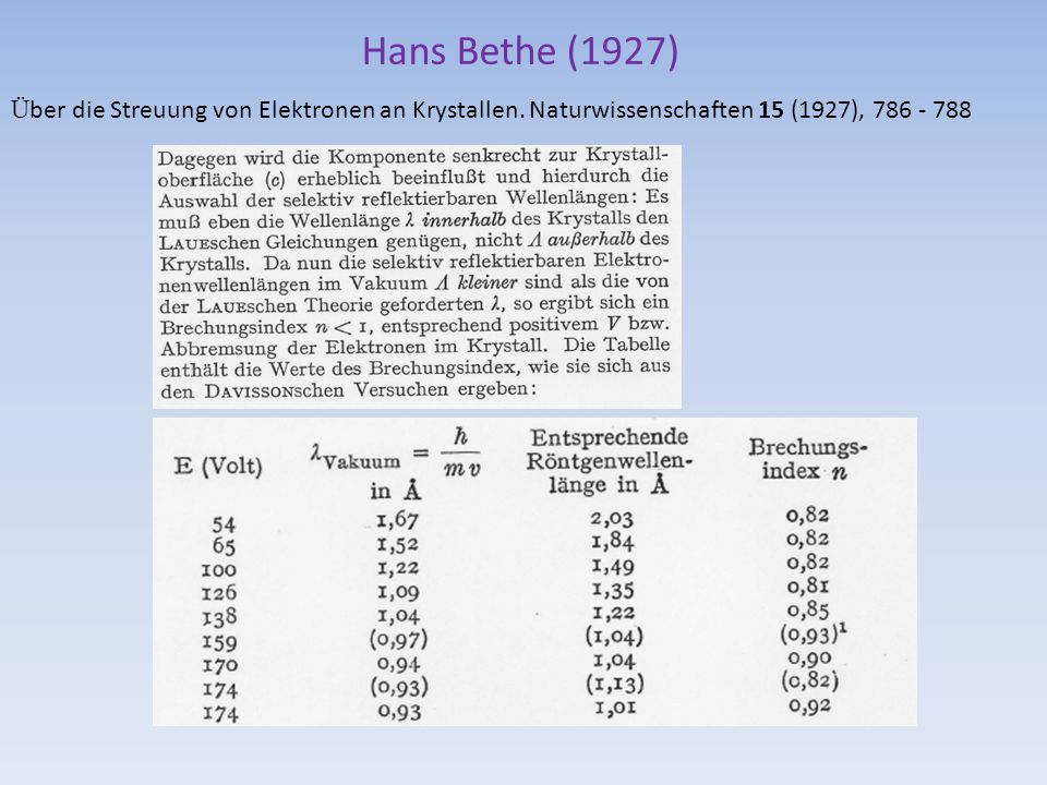 Hans Bethe (1927) Ü ber die Streuung von Elektronen an Krystallen. Naturwissenschaften 15 (1927), 786 - 788