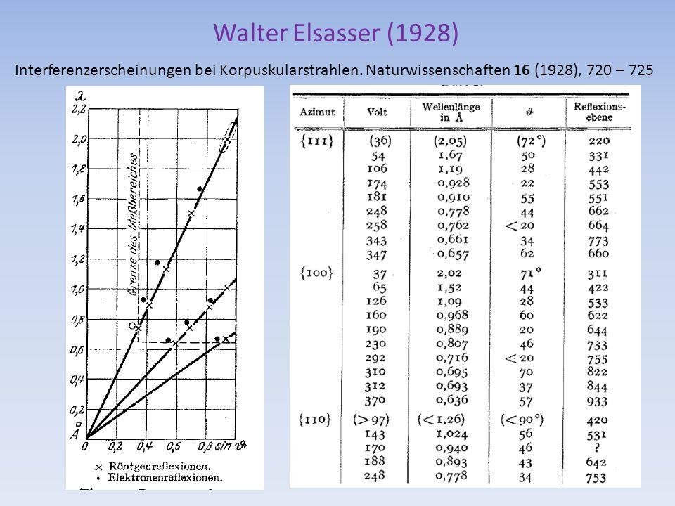 Walter Elsasser (1928) Interferenzerscheinungen bei Korpuskularstrahlen. Naturwissenschaften 16 (1928), 720 – 725