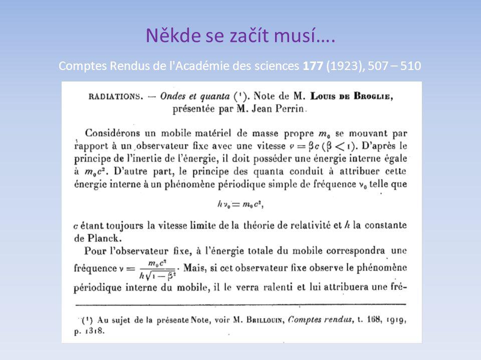 Někde se začít musí…. Comptes Rendus de l'Académie des sciences 177 (1923), 507 – 510