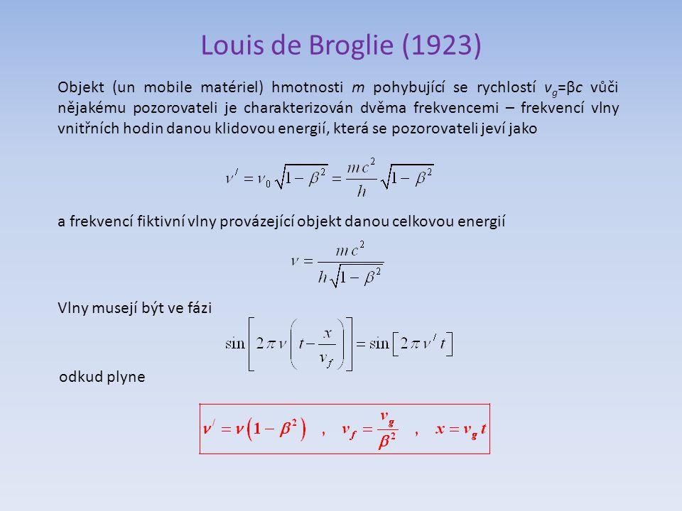 Louis de Broglie (1923) Objekt (un mobile matériel) hmotnosti m pohybující se rychlostí v g =βc vůči nějakému pozorovateli je charakterizován dvěma frekvencemi – frekvencí vlny vnitřních hodin danou klidovou energií, která se pozorovateli jeví jako a frekvencí fiktivní vlny provázející objekt danou celkovou energií Vlny musejí být ve fázi odkud plyne
