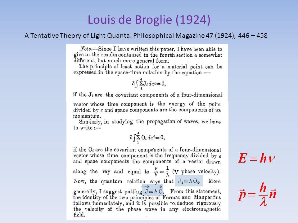 Louis de Broglie (1924) A Tentative Theory of Light Quanta. Philosophical Magazine 47 (1924), 446 – 458