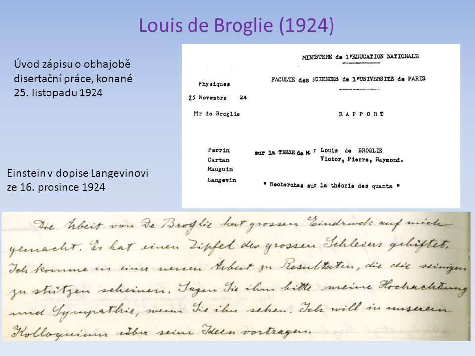 Louis de Broglie (1924) Einstein v dopise Langevinovi ze 16. prosince 1924 Úvod zápisu o obhajobě disertační práce, konané 25. listopadu 1924