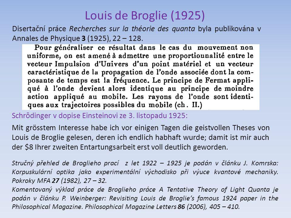 Louis de Broglie (1925) Disertační práce Recherches sur la théorie des quanta byla publikována v Annales de Physique 3 (1925), 22 – 128.