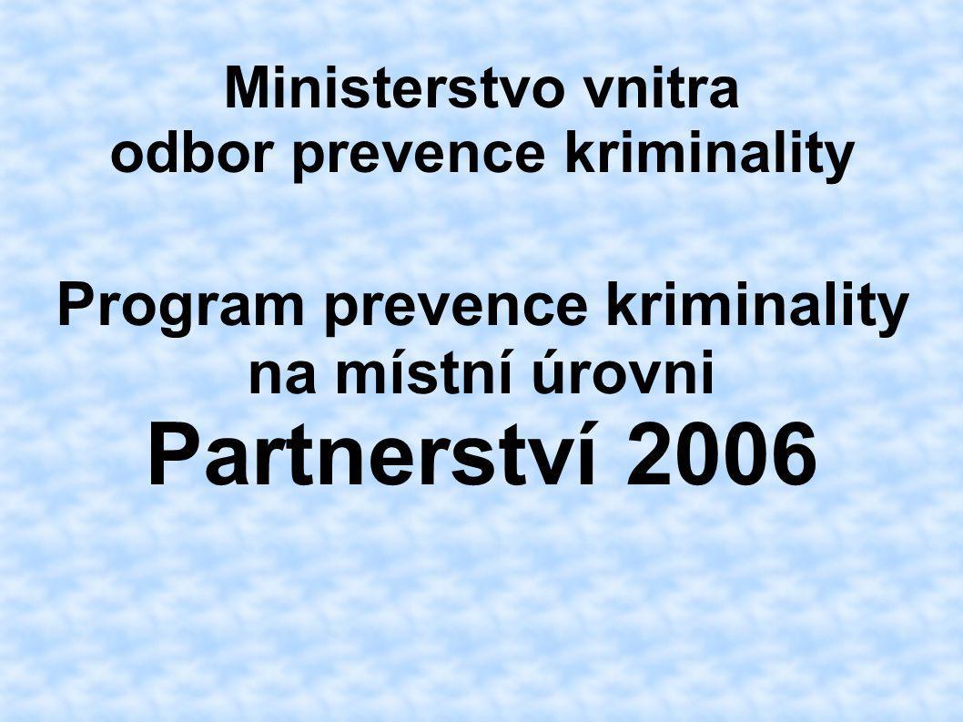 Ministerstvo vnitra odbor prevence kriminality Program prevence kriminality na místní úrovni Partnerství 2006