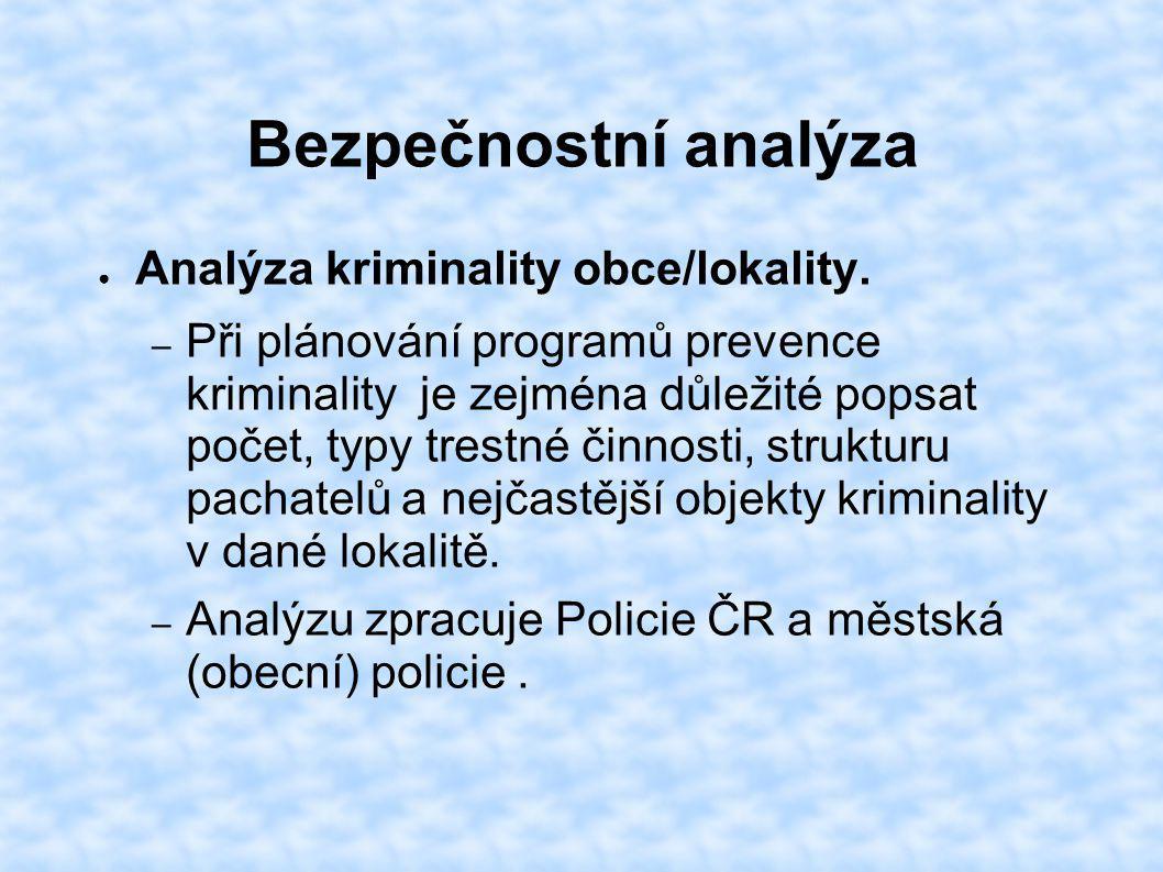 Bezpečnostní analýza ● Analýza kriminality obce/lokality. – Při plánování programů prevence kriminality je zejména důležité popsat počet, typy trestné