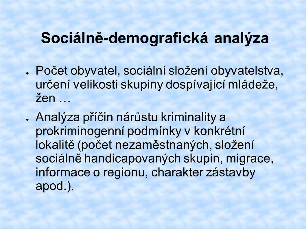 Sociálně-demografická analýza ● Počet obyvatel, sociální složení obyvatelstva, určení velikosti skupiny dospívající mládeže, žen … ● Analýza příčin ná