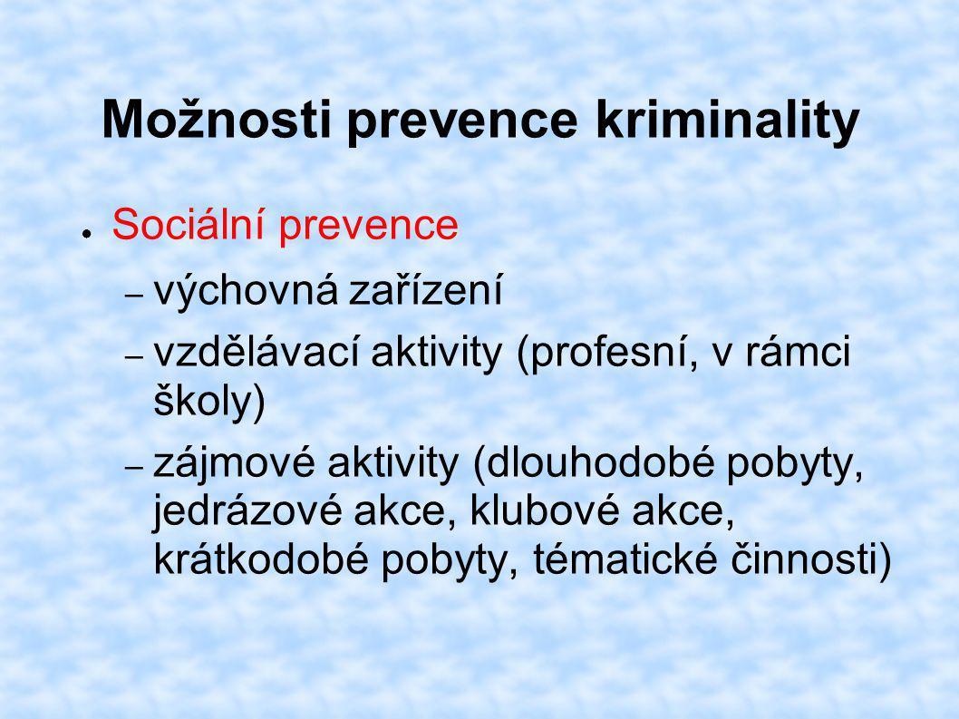 Možnosti prevence kriminality ● Sociální prevence – výchovná zařízení – vzdělávací aktivity (profesní, v rámci školy) – zájmové aktivity (dlouhodobé p