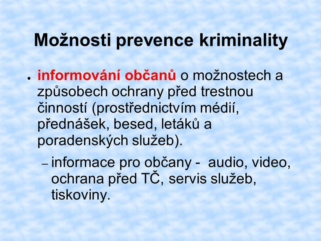 Možnosti prevence kriminality ● informování občanů o možnostech a způsobech ochrany před trestnou činností (prostřednictvím médií, přednášek, besed, letáků a poradenských služeb).