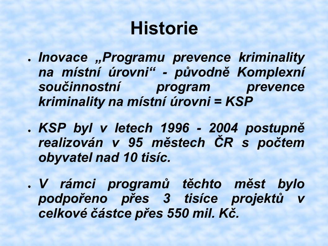"""Historie ● Inovace """"Programu prevence kriminality na místní úrovni"""" - původně Komplexní součinnostní program prevence kriminality na místní úrovni = K"""