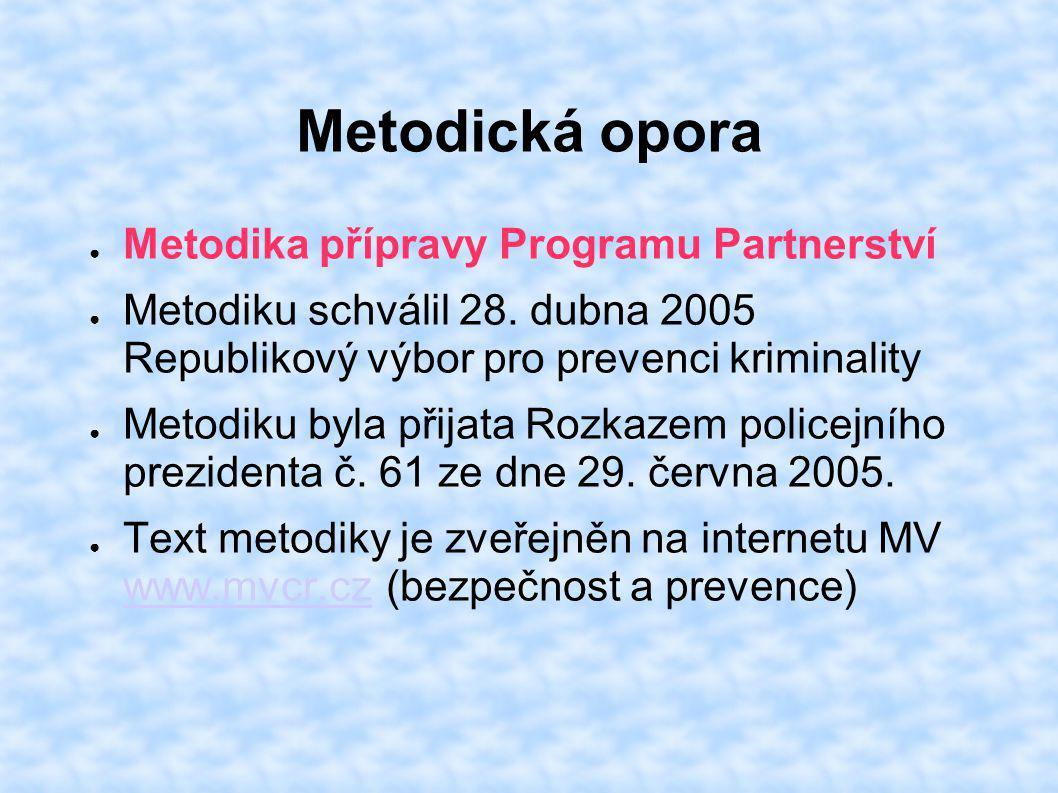 Metodická opora ● Metodika přípravy Programu Partnerství ● Metodiku schválil 28. dubna 2005 Republikový výbor pro prevenci kriminality ● Metodiku byla