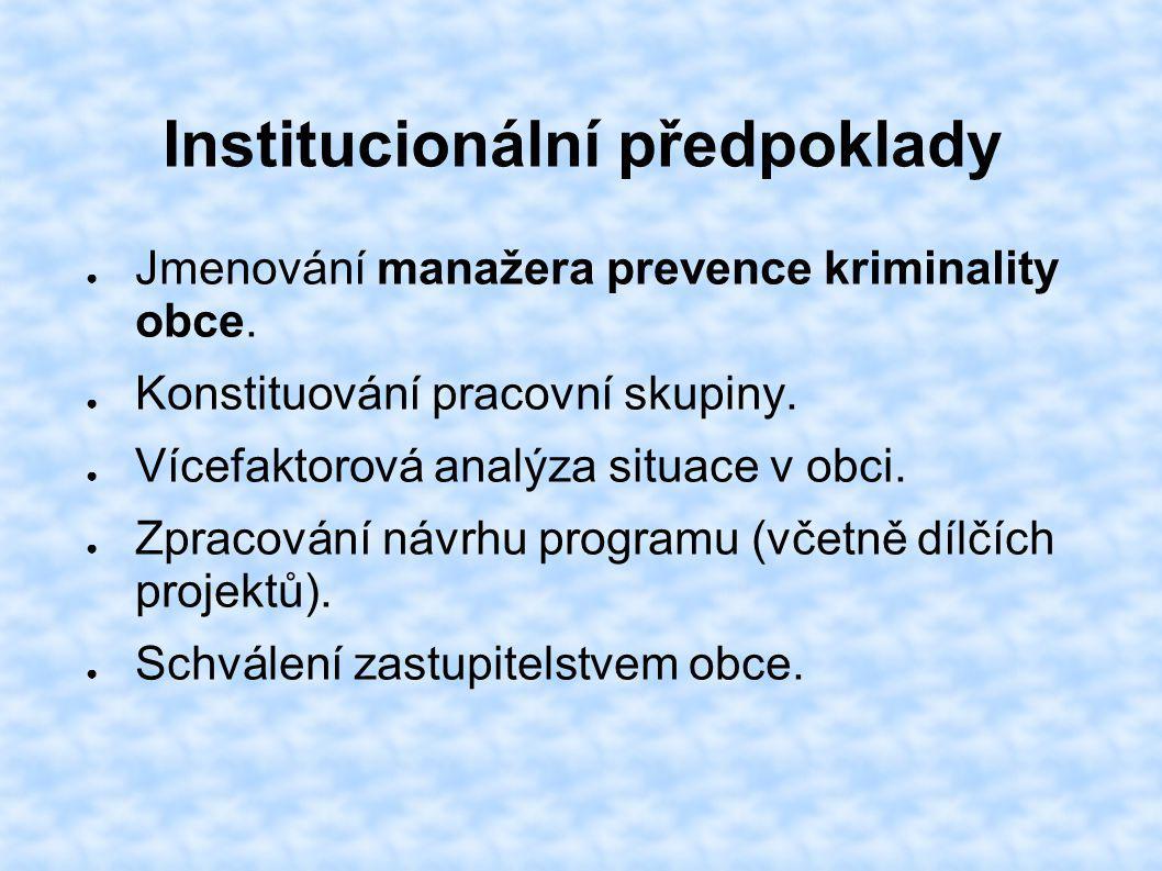 Institucionální předpoklady ● Jmenování manažera prevence kriminality obce. ● Konstituování pracovní skupiny. ● Vícefaktorová analýza situace v obci.
