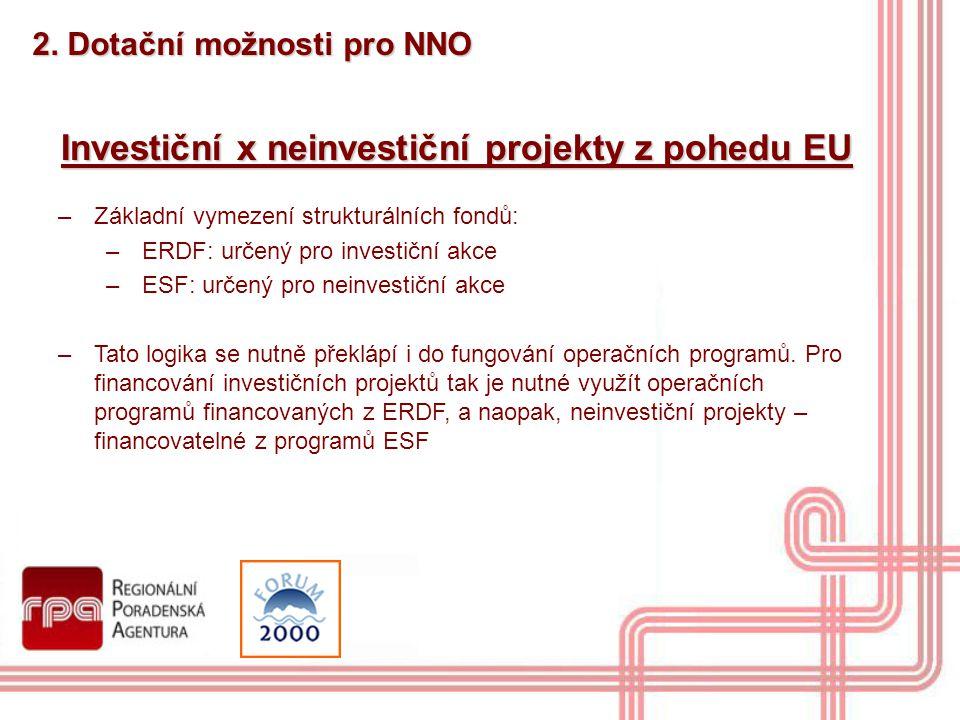 2. Dotační možnosti pro NNO Investiční x neinvestiční projekty z pohedu EU –Základní vymezení strukturálních fondů: –ERDF: určený pro investiční akce