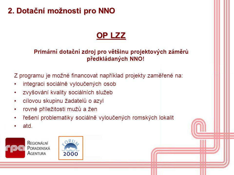 2. Dotační možnosti pro NNO OP LZZ Primární dotační zdroj pro většinu projektových záměrů předkládaných NNO! Z programu je možné financovat například
