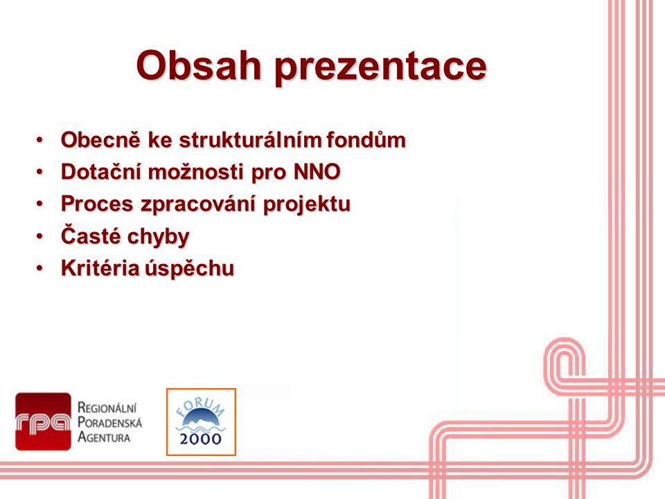 Obsah prezentace Obecně ke strukturálním fondůmObecně ke strukturálním fondům Dotační možnosti pro NNODotační možnosti pro NNO Proces zpracování proje