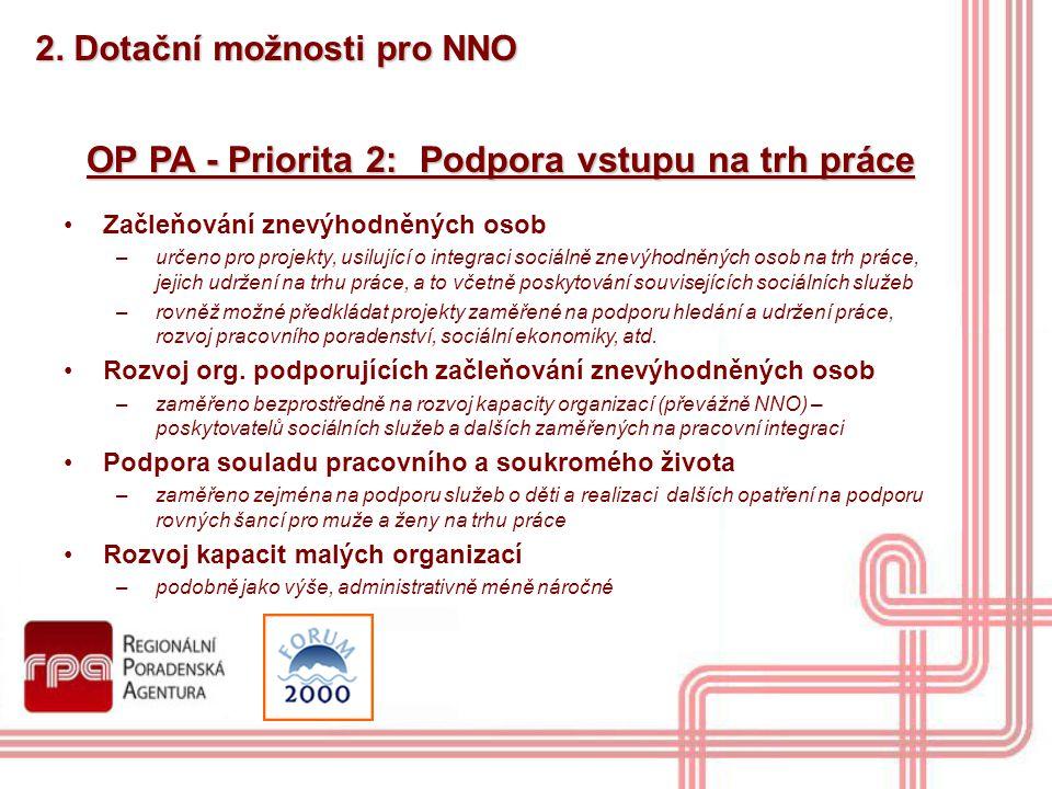 2. Dotační možnosti pro NNO OP PA - Priorita 2: Podpora vstupu na trh práce Začleňování znevýhodněných osob –určeno pro projekty, usilující o integrac
