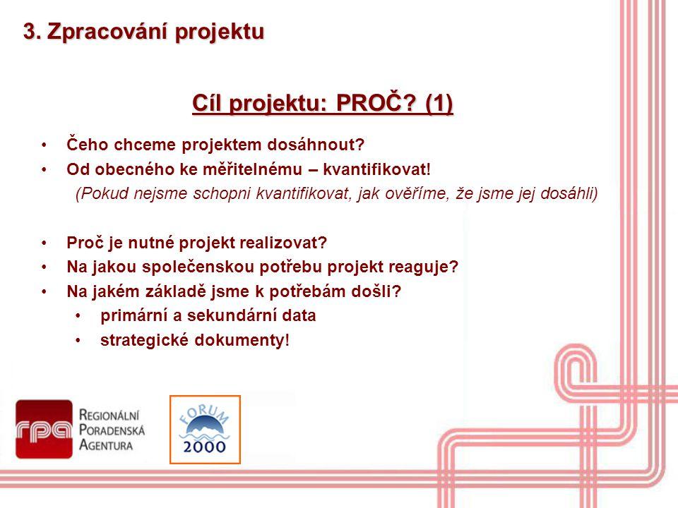 Cíl projektu: PROČ? (1) Čeho chceme projektem dosáhnout? Od obecného ke měřitelnému – kvantifikovat! (Pokud nejsme schopni kvantifikovat, jak ověříme,
